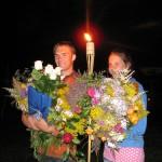 Juris un Kristīne vakarā pēc kristībām CM nometnē Pācē